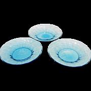 """3 Steuben Glass Celeste Blue 6"""" Plates"""