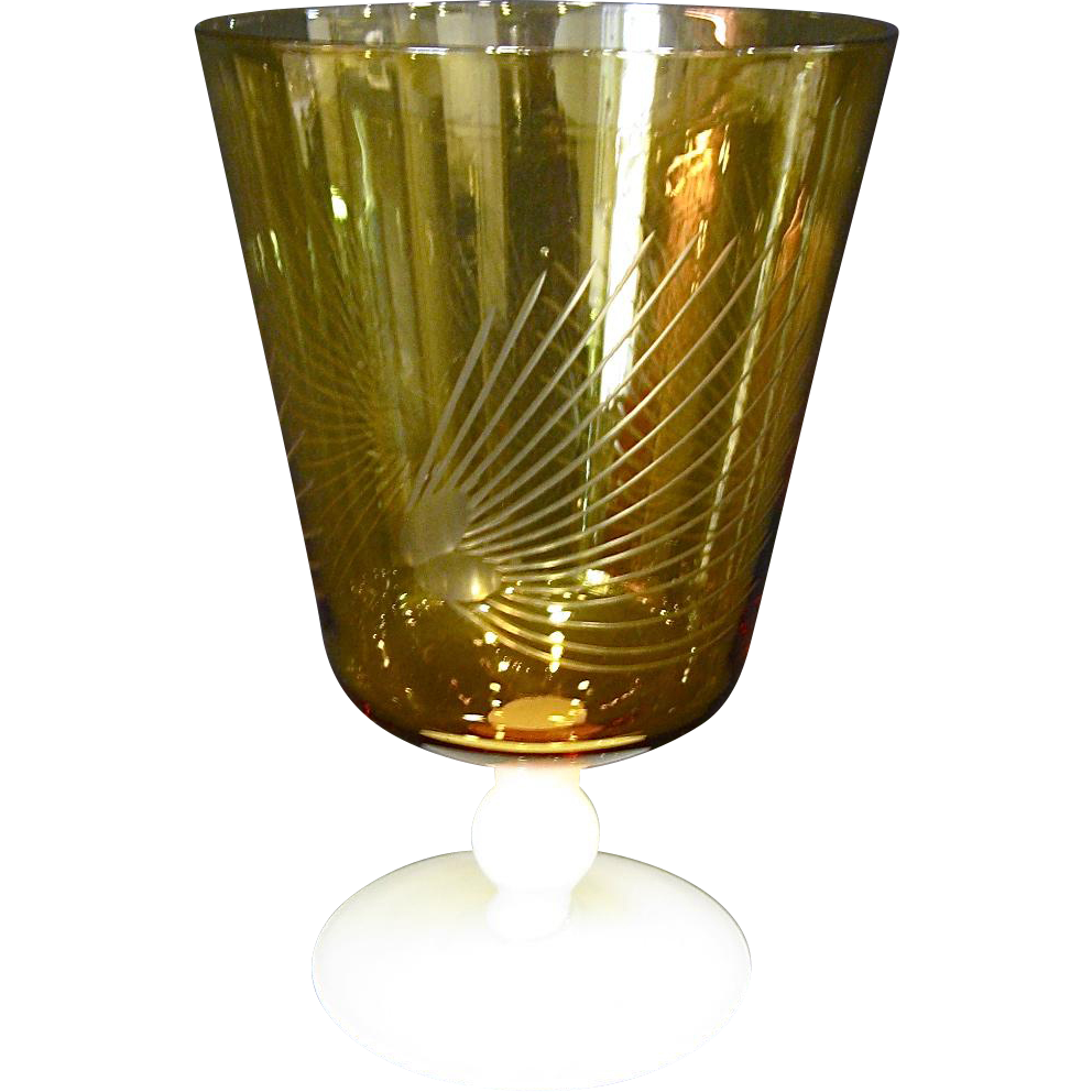 Amber Glass and Alabaster Footed Vase with Engraving