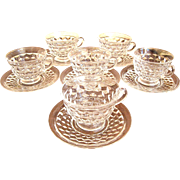 Set of 6 Fostoria American Cups and Saucers
