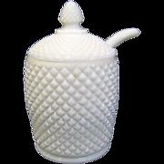 Westmoreland English Hobnail Milk Glass Condiment Jar with Spoon