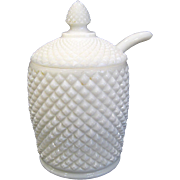 Westmoreland English Hobnail Milk Glass Condiment Jar with Spoon