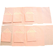 Set of 6 Vintage Pink Linen Placemats and Napkins