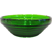 Blenko Green Stepped Glass Bowl