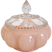 Fenton Rose Overlay Lidded Powder Jar