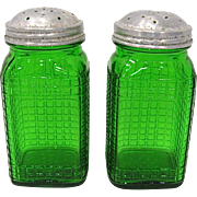 Pair Owens Illinois Forest Green Tall Shakers
