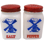 1930s Hazel Atlas Windmill Salt and Pepper Shakers