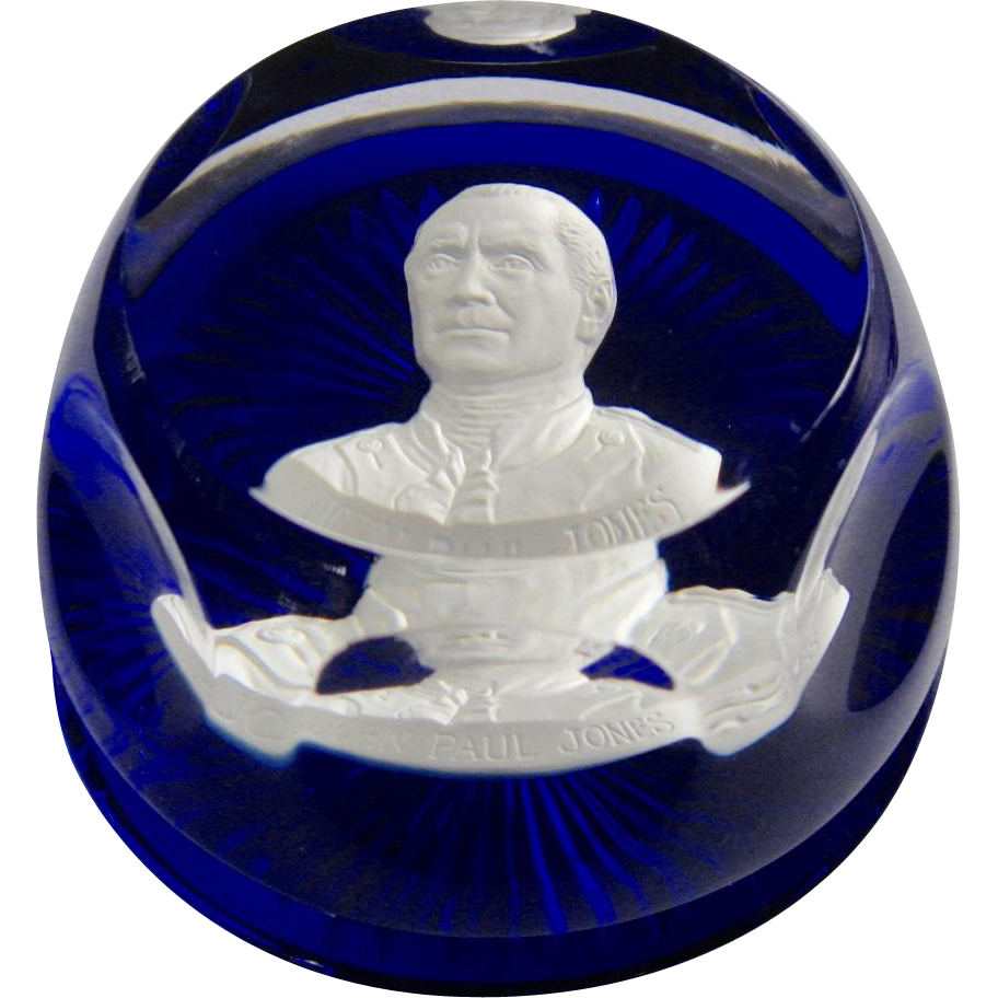 Crystal D-Albret Sulphide Paperweight John Paul Jones