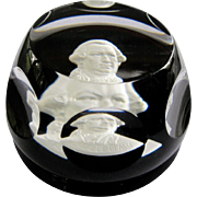 Baccarat Crystal Sulphide Paperweight Admiral De Grasse
