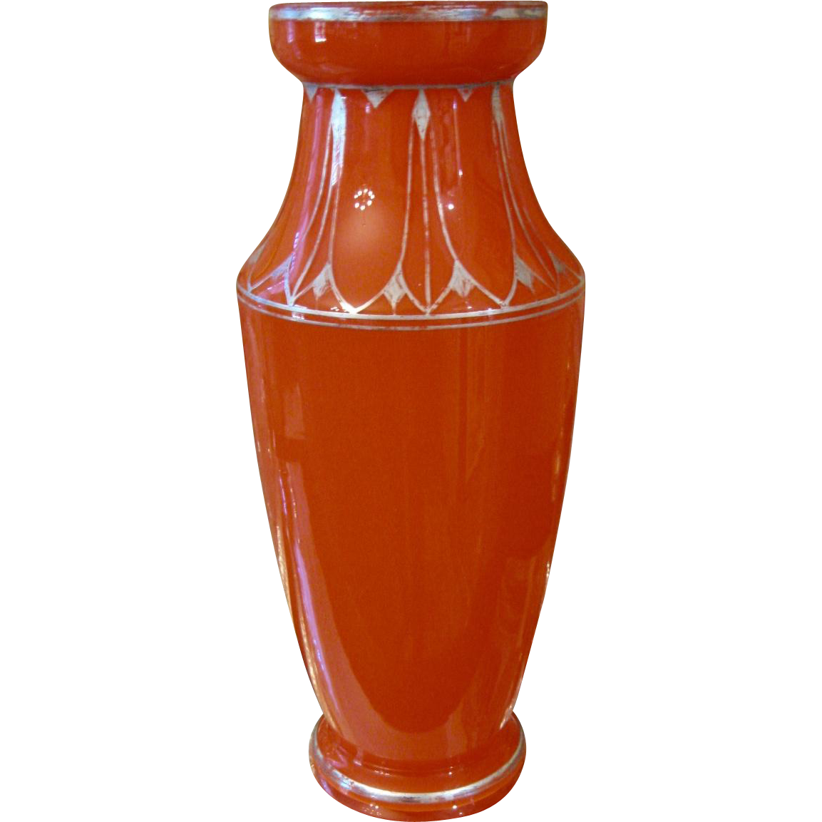 signed czecho slovakia art deco orange vase with silver decoration from antiquesonascot on ruby lane. Black Bedroom Furniture Sets. Home Design Ideas