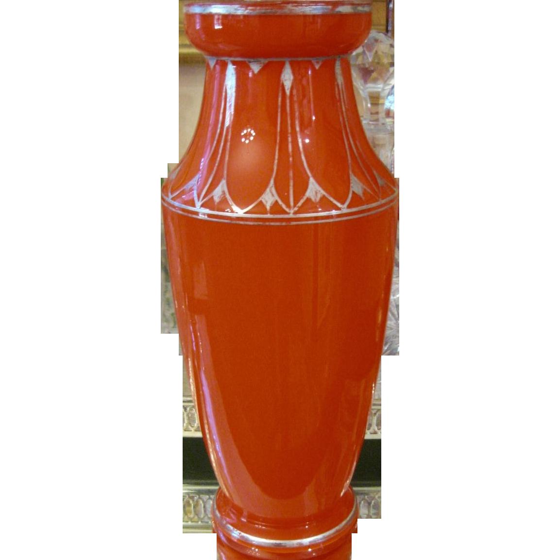Signed Czecho Slovakia Art Deco Orange Vase with Silver Decoration