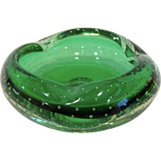 Mid Century Modern Erickson Glass Green Control Bubble Ashtray