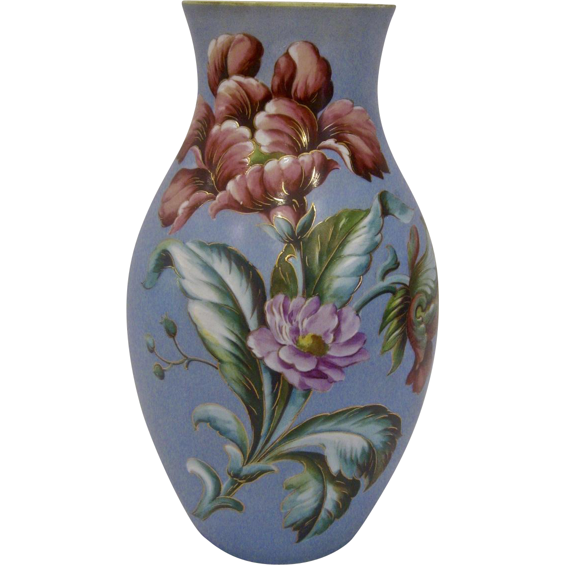 "Large 12 3/4"" Antique Opaline Vase with Flowers"