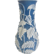 "Phoenix Art Glass Blue Philodendron 11"" Vase"