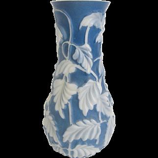 """Phoenix Art Glass Blue Philodendron 11"""" Vase"""