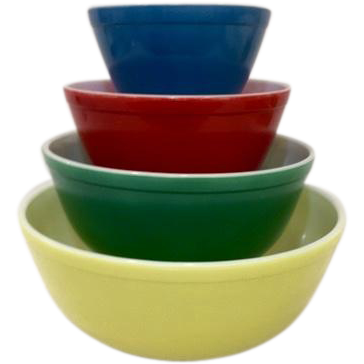 Pyrex Primary Colors Mixing Bowl Set, Unused