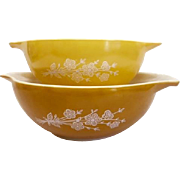 Two Large Pyrex Butterfly Gold Cinderella Mixing Bowls