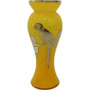 Czech/Bohemian Art Nouveau Yellow Art Glass Vase with Silver Parrot