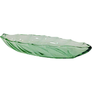 "Heisey Twist 13"" Art Deco Celery Dish in Moongleam"