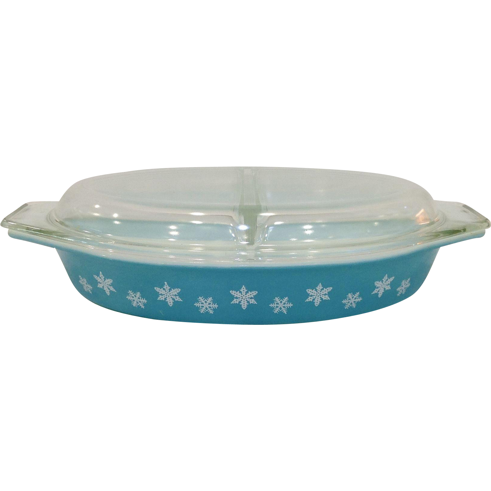 1950's Pyrex Snowflake Turquoise Divided Oval Casserole with Lid