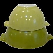 2 Pyrex Green Cinderella Mixing Bowls