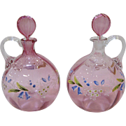 Pair Gorgeous Antique Enameled Glass Decanters