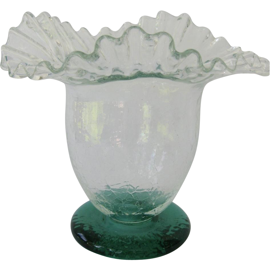 Blenko Ruffled Rim Crackle Glass Vase with Green Foot