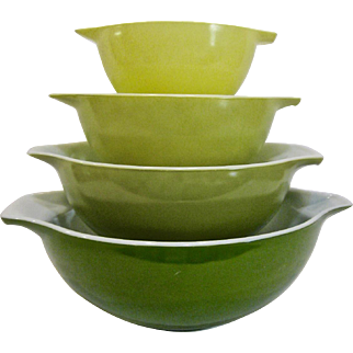 Set of 4 Pyrex #440 Verde Green Cinderella Mixing Bowls