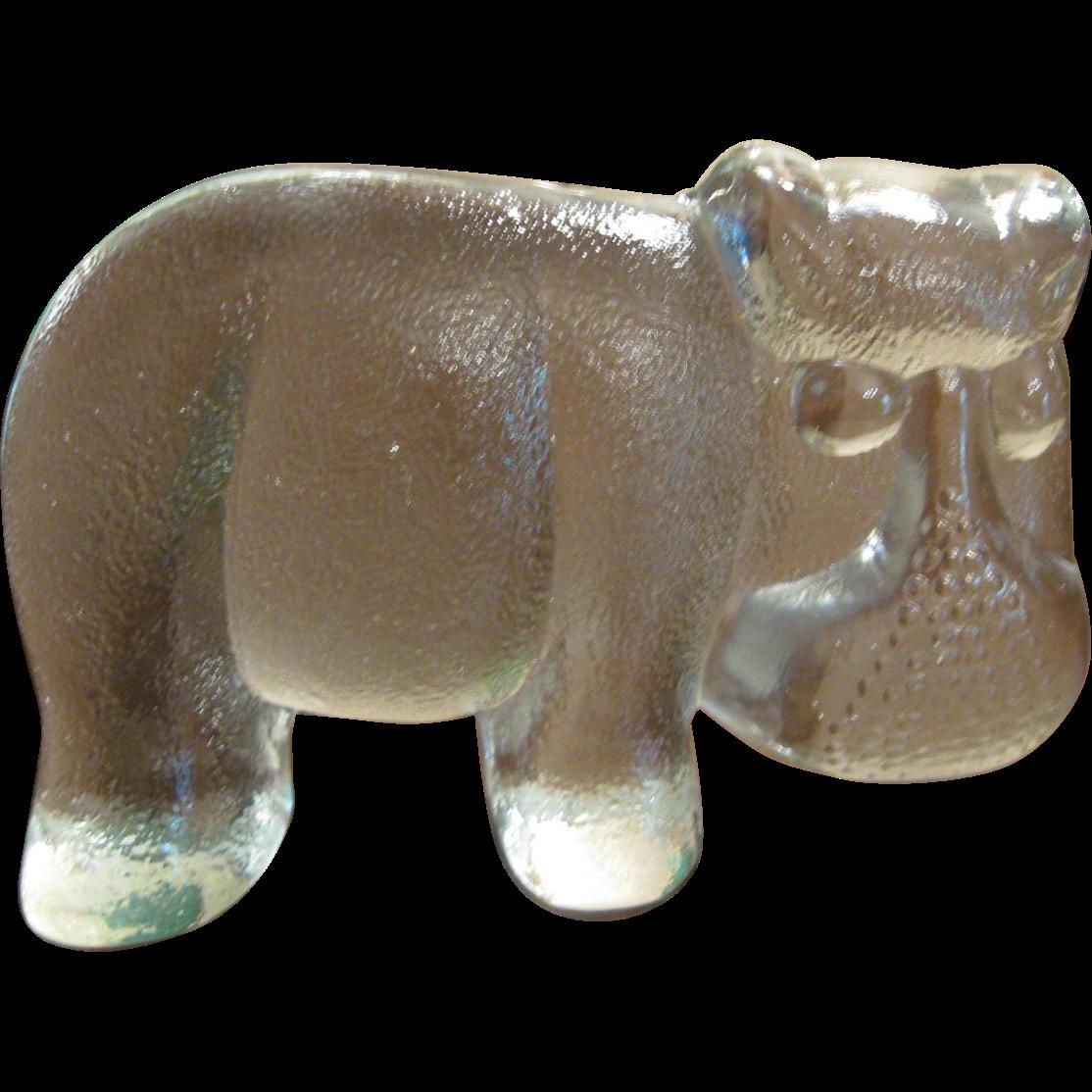 Kosta Boda Sweden Art Glass Hippo Paperweight