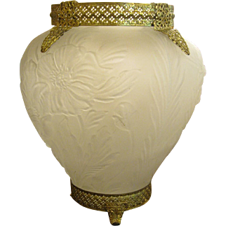 Consolidated Glass Poppies Vase with Ormolu Mounts