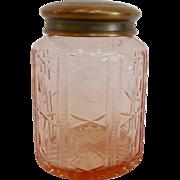 Lovely Pink Cut Glass Vanity Jar