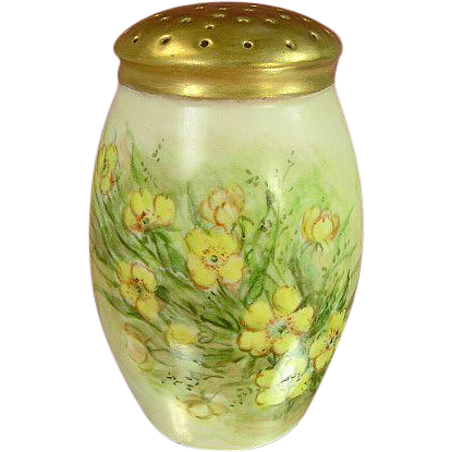 Antique Victorian Bavaria Sugar Shaker Muffineer, Yellow Flowers, Gilded Top