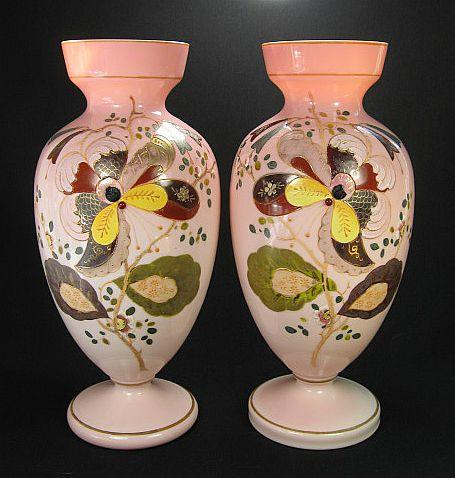 Pair Of Matching Victorian Mantle Vases With Hand Painted