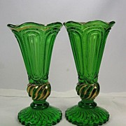 Pair 1890's Emerald Green & Gold Trim Pattern Glass Vases - Red Tag Sale Item