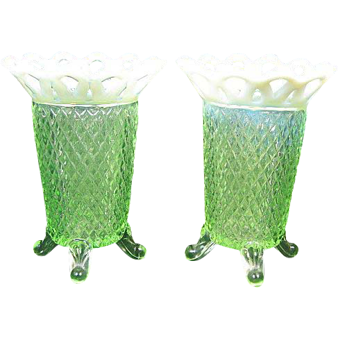 Pair of Imperial Glass Lace Edge Opalescent Footed Vases