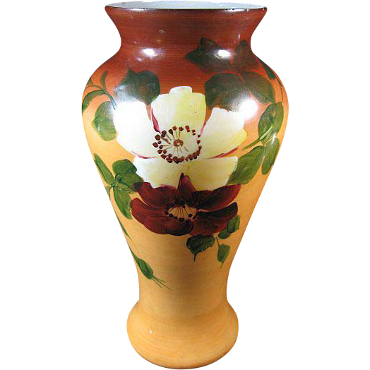 Large Antique Victorian Vase, Hand Painted Flowers