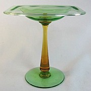 Carder Steuben Pomona Green and Amber Rolled Rim Compote