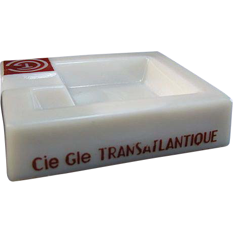 Pre-War Opalex French Line Cie Gle Transatlantique Ocean Liner Ashtray