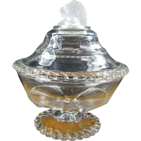 EAPG Gillinder Glass Lion Covered Butter Dish c. 1877