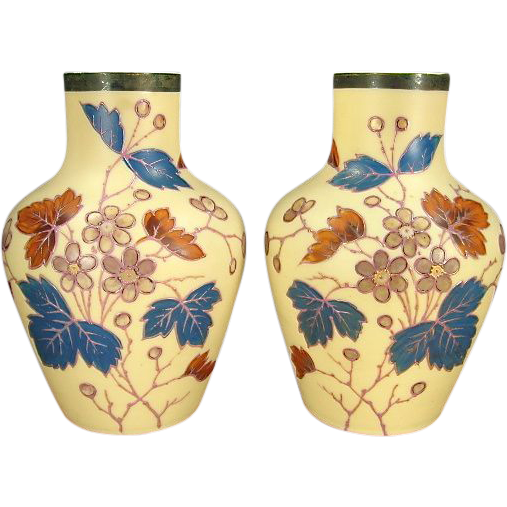 Pair 19th Century Hand Painted Opal Glass Vases