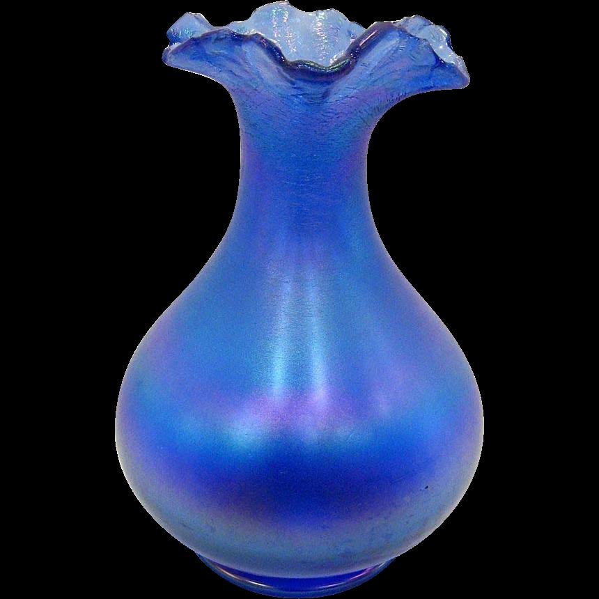 Signed Poschinger Blue Iridescent Bulbous Vase