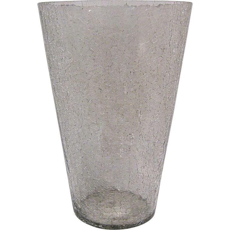 Large Blenko Crackle Glass Vase
