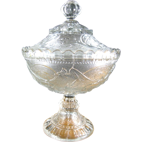 Portieux Vallerysthal Chimera Glass Compote with Lid