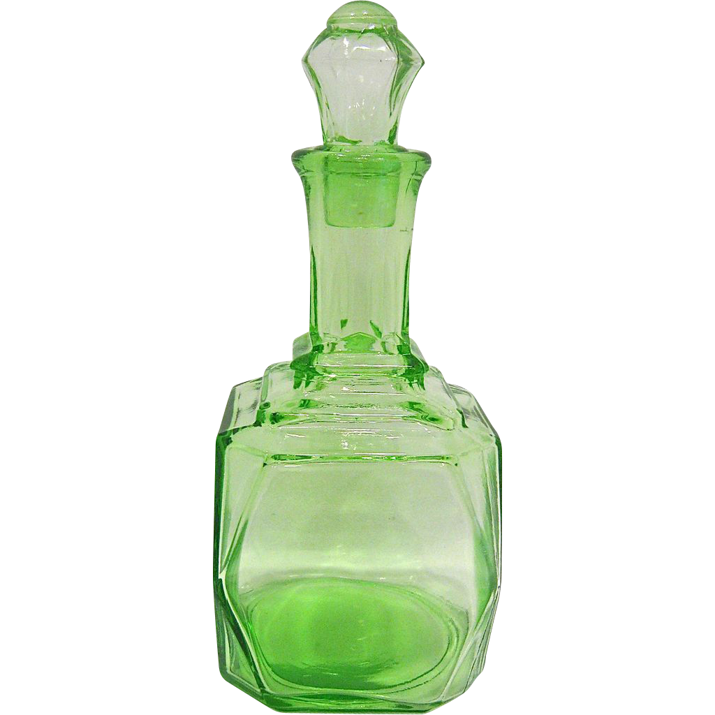 Hocking Green Depression Glass Decanter