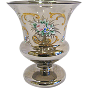 Vintage Silvered Urn Vase with Enamel Decoration