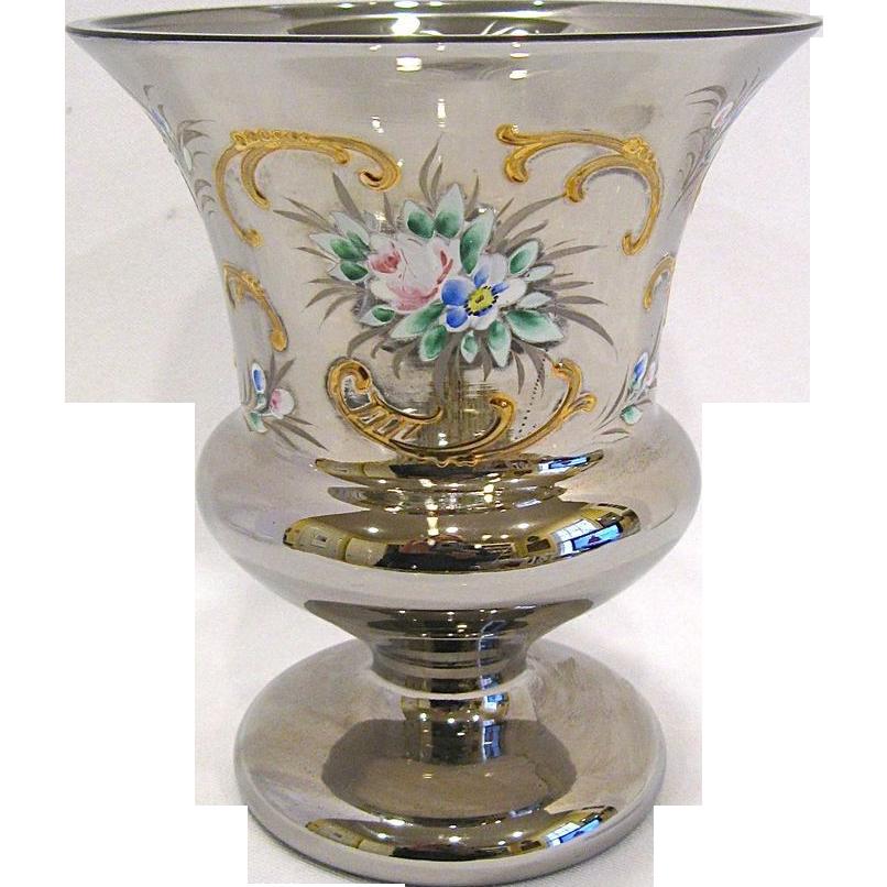 Vintage Silvered Urn Vase with Enamel Decoration