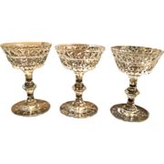 3 Hawkes Crystal Birr Tall Champagne Wine Glasses