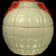 Richard Ginori Gio Ponti S Cristoforo Milano Faience Vase with Panes, Double Handles