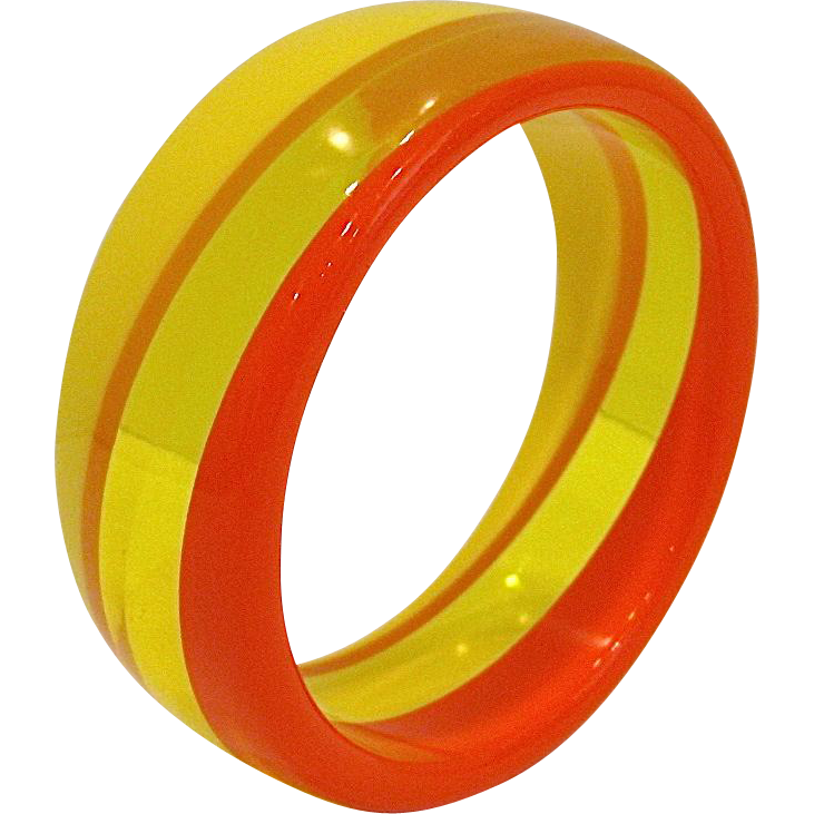 Retro Orange Yellow Lucite Bangle