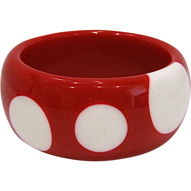 Big Chunky Red & White Polka Dot Bangle Bracelet