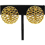 Vintage Napier Gold Tone Filigree Clip Earrings